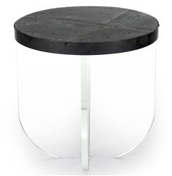 Blaine Modern Acrylic Zinc Top Round Side Table