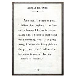 Audrey Hepburn Quote - I Believe In Pink Wood Art Print - White - 36x24