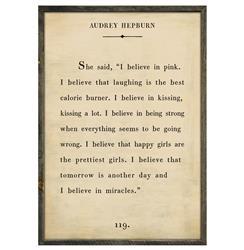 Audrey Hepburn Quote - I Believe In Pink Wood Art Print - Cream - 36x24