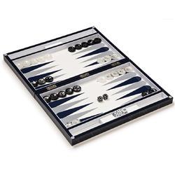 Aurosi Modern Classic Blue Marble Backgammon Set
