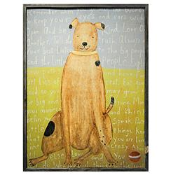 Remember When You Go - Reclaimed Wood Brown Boy Dog Wall Art - 36 Inch