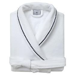 Yves Delorme Victoire Marine Modern Classic White Cotton Robe - Large