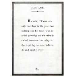 Dalai Lama Quote - Love Believe Live Wood Art Print - White - 36x24