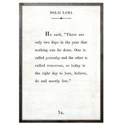 Dalai Lama Quote - Love Believe Live Wood Art Print - White - 36x24