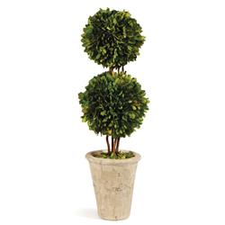 Marin French Country Green Boxwood Double Sphere Topiary - Small