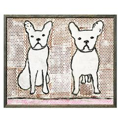 Double Trouble Sweet Dogs Reclaimed Wood Framed Art Print - 20x24