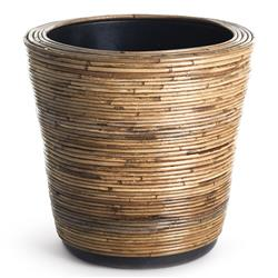 Analee Rustic Lodge Brown Rattan Dry Basket Planter - Small