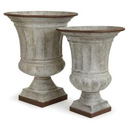 Gary French Country Whitewashed Galvanized Metal Classic Urn - Set of 2