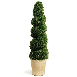 Marin French Country Green Spiral Boxwood Topiary