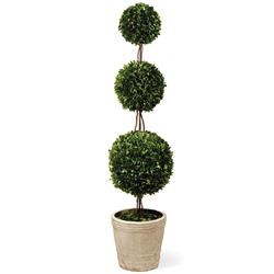 Marin French Country Green Triple Boxwood Sphere Topiary