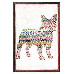 Frenchie Dog Colored Zig Zags Reclaimed Wood Wall Art Print