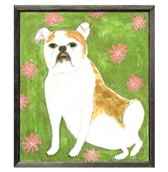 Gorgeous Girl Bulldog Green Pink Floral Reclaimed Wood Art Print