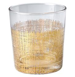 Icicle Hollywood Regency Gold Crosshatch Glasses - Set of 4