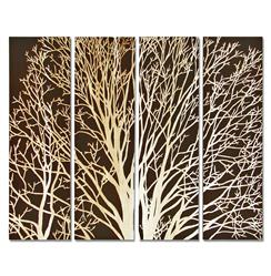 Arbor Spring Tree Brown Carved Wood Wall Mural Art