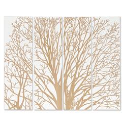 Arbor Spring Tree White Carved Wood Wall Mural Art