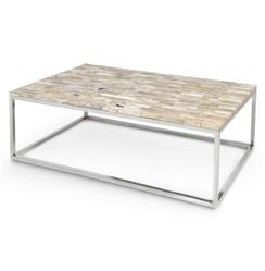 Palecek Mosaic Industrial Petrified Wood Rectangular Coffee Table - 55 Inch