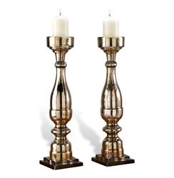 Pair Large Paxton Mercury Glass Pillar Candleholders