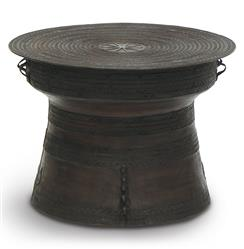 Palecek Bronze Rain Global Bazaar Large Bronze Rain Drum Side Table