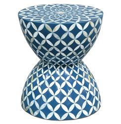 Palecek Inlaid Shell Coastal Beach Hourglass Blue White Stool Side Table