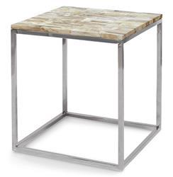 Palecek Mosaic Industrial Loft Petrified Wood Square Side Table