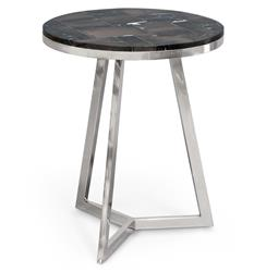 Raven Industrial Loft Petrified Wood Black Round Side Table | PAL-6340-10