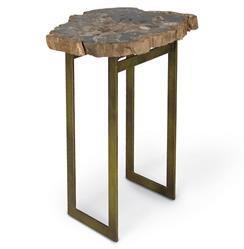 Palecek Petrified Wood Industrial Loft Iron Side Table