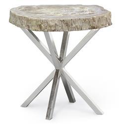 Asterisk Petrified Wood Industrial Loft Steel Side Table