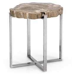 Palecek Sliced Petrified Industrial Loft Petrified Wood Steel Side Table