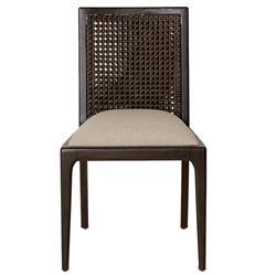Adonis Coastal Beach Rattan Dark Brown Teak Wood Dining Chair