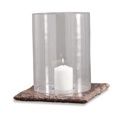 Pair Varnik Modern Glass and Stone Hurricane Candle Holders