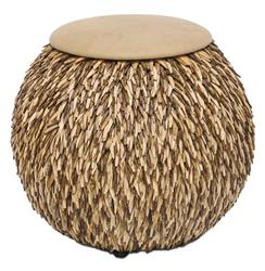 Hedgehog Coco Feather Tan Leather Global Bazaar Ottoman Pouf