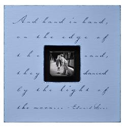 Painted Wood Rustic Photo Box - And Hand In Hand - French Blue