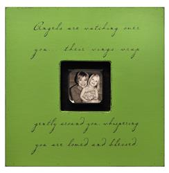 Painted Wood Rustic Photo Box - Angels Are Watching Over You - Apple Green
