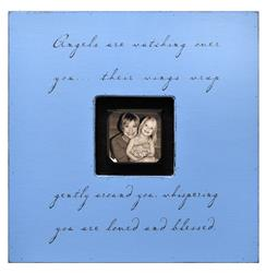 Painted Wood Rustic Photo Box - Angels Are Watching Over You - French Blue