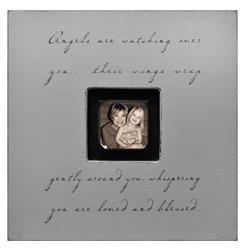 Painted Wood Rustic Photo Box - Angels Are Watching Over You - French Grey