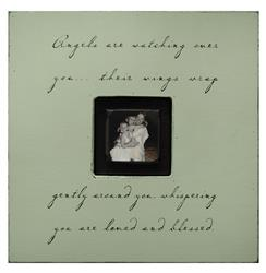 Painted Wood Rustic Photo Box - Angels Are Watching Over You - Key Lime