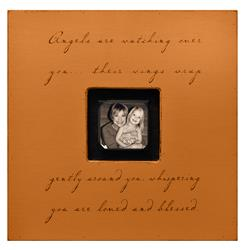 Painted Wood Rustic Photo Box - Angels Are Watching Over You - Terra Cotta