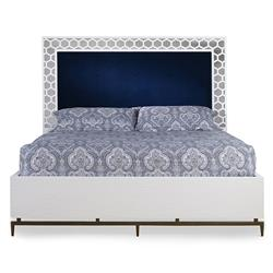 Mr. Brown Wilhelm Global Bazaar Blue Velvet Headboard White Wood Bed - Queen