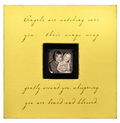 Painted Wood Rustic Photo Box - Angels Are Watching Over You - Yellow