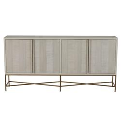 Carolyn Mid-Century Modern Classic Brass Trim Grey Wood Veneer 4-Door Sideboard