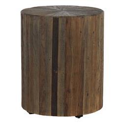 Cyrus Rustic Lodge Dark Brown Reclaimed Elm Wood Drum Eco Side Table