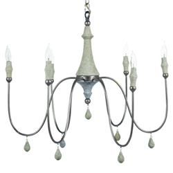 Clay Industrial Loft Grey Wood Center Column Silver Metal Chandelier