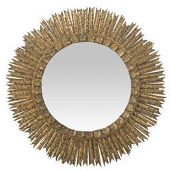 Rowan Global Bazaar Antiqued Gold Pine Wood Sunburst Framed Round Wall Mirror