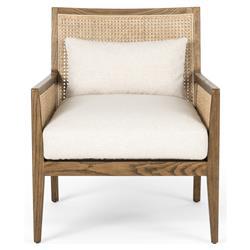 Annette Coastal Beach White Linen Woven Cane Brown Wood Occasional Chair