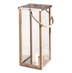 Pair of Montego Coastal Style Teak Wood Floor Candle Lantern with Rope Handle