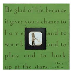 Painted Wood Rustic Photo Box - Be Glad Of Life - Apple Green