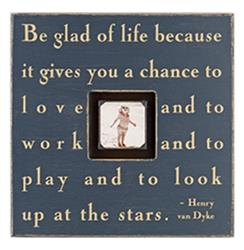 Painted Wood Rustic Photo Box - Be Glad Of Life - Charcoal