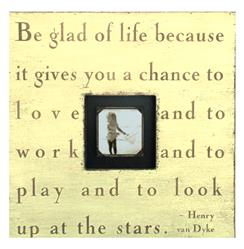 Painted Wood Rustic Photo Box - Be Glad Of Life - Cream
