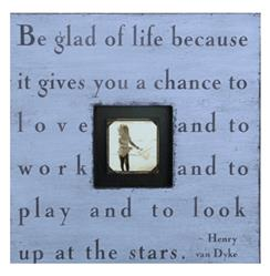 Painted Wood Rustic Photo Box - Be Glad Of Life - French Blue