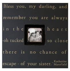 Painted Wood Rustic Photo Box - Bless You My Darling - Black